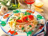 Fischfilet Ratatouille auf buntem Reis Rezept