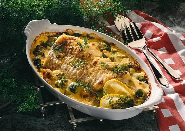 Fischfilet und Porreegemüse in Hollandaise gebacken Rezept