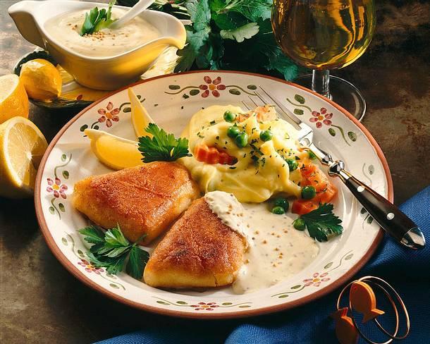 Fischfilets mit Kartoffelpüree und grobkörnigem Senf Rezept