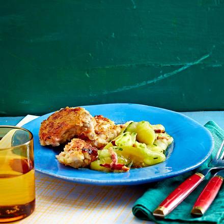 Fischfrikadellen mit Speck-Kartoffelsalat und Honig-Mayo Rezept