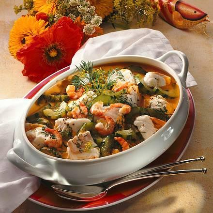 Fischragout mit Shrimps Rezept