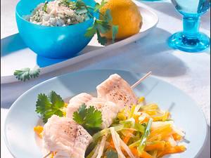 Fischspieß auf Bouillon-Gemüse Rezept