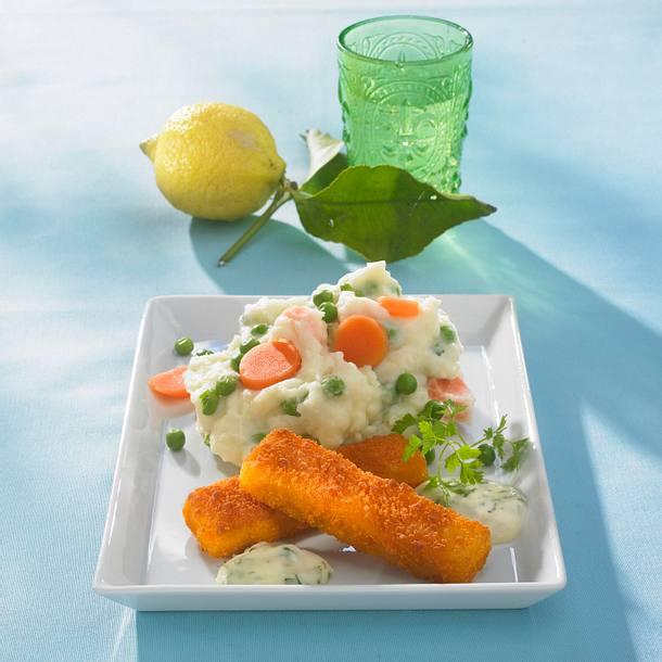Fischstäbchen mit Kartoffelpüree (Diät) Rezept