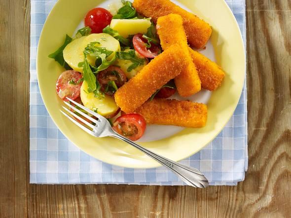 Fischstäbchen mit Kartoffelsalat Rezept