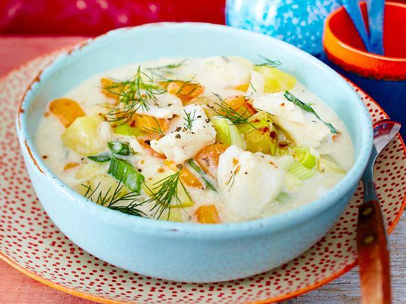 Fischsuppe mit Skrei und Gemüse Rezept