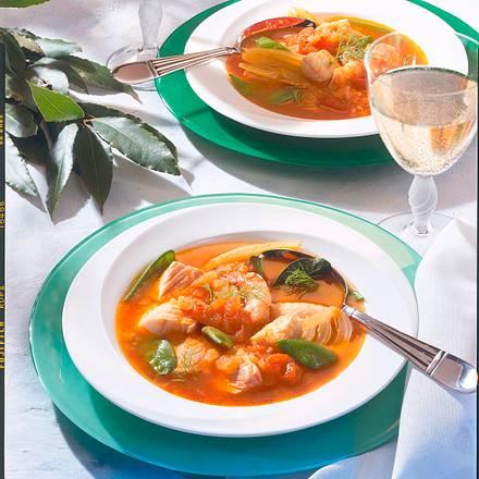 Fischsuppe mit Zuckerschoten Rezept