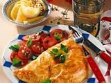 Fischtasche mit Tomatensalat (für 4 Personen) Rezept