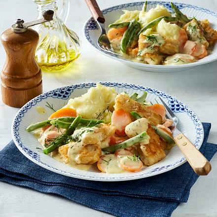 Fischwürfel in Gemüse-Senf-Soße Rezept