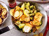 Fish & Crisps auf gebratenen Dillgurken Rezept