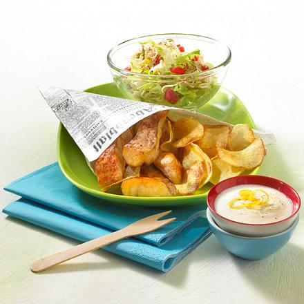 Fish & Chips mit Zitronen-Joghurtsoße und Salat Rezept