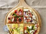 Fladenbrot-Pizza vier mal anders: mit Schmand, Austernpilzen, Speck, roten Zwiebeln, Thymian und Ziegenkäse Rezept