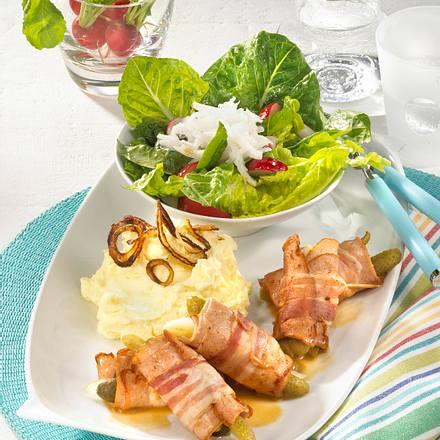 Fleischkäse-Rouladen mit Radieschensalat Rezept