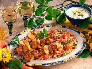Fleischspieße auf Gemüsereis Rezept