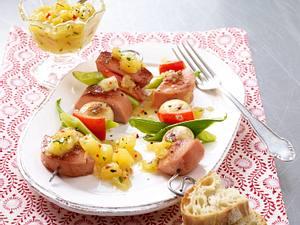 Fleischwurst-Gemüsespieß zu Ananas-Chutney Rezept