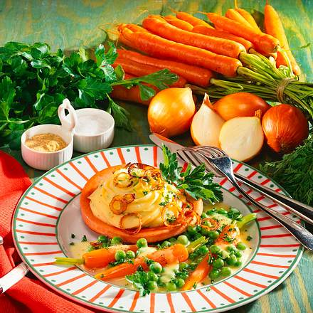 Fleischwurstnester mit Kräuter-Kartoffelpüree Rezept