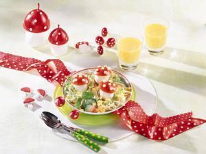 Fliegenpilze auf Spaghetti-Salat Rezept