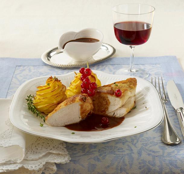 Frankreich: Hähnchenbrust mit Cassis-Soße und Herzoginkartoffeln Rezept
