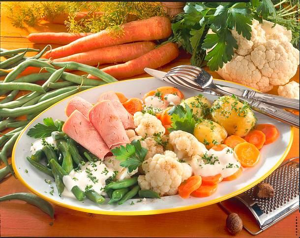 Frische Gemüseplatte mit Kasseler-Aufschnitt Rezept