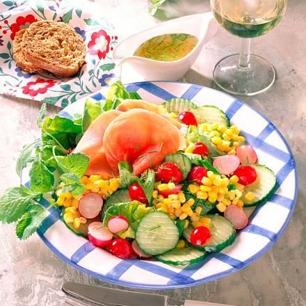 Frischer Salat mit Lachs-schinken Rezept