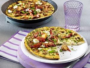 Frittata mit Kochschinken, Champignons und Lauchzwiebeln (4 Zutaten 1 Gericht) Rezept