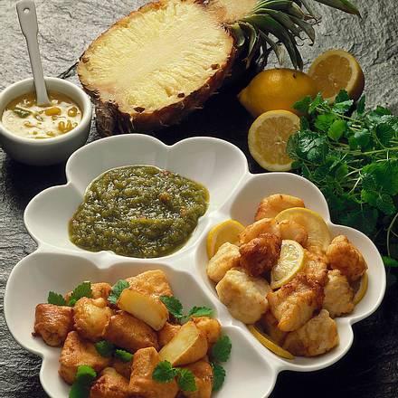 Frittierte Ananas und Kabeljau-Happen Rezept