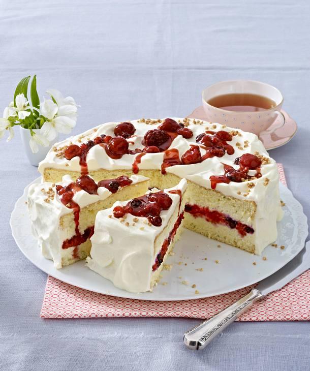 Schnelle Blechkuchen Rezepte Mit Bild: Fruchtige Beeren-Bananen-Torte Rezept