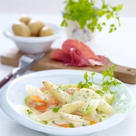 Frühlings-Schnüsch (Gemüse in Kerbel-Bechamelsoße zu Katenschinken) Rezept