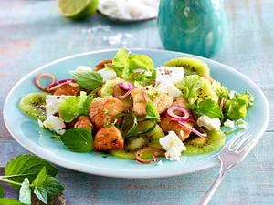 Frühlingsfit-Salat mit Kiwi, Pute und Feta Rezept