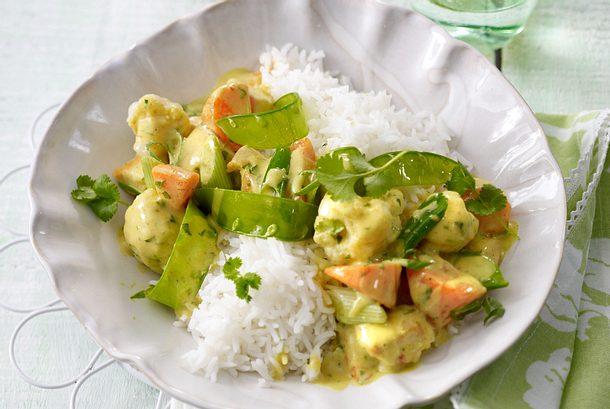 Frühlingsfrikassee in Curry-Kokos-Rahm Rezept