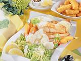 Frühlingsgemüse-Platte zu Lachsfilet in Zitronen-Pfeffer-Soße Rezept