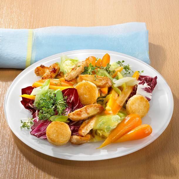 Frühlingssalat mit warmen Putenbruststreifen Rezept
