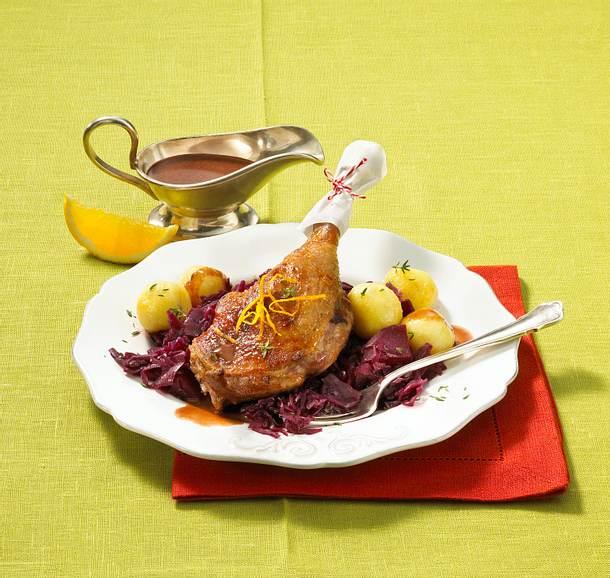 Gänsekeule in Lebkuchen-Rotweinsoße Rezept