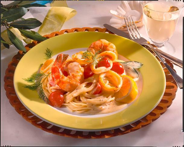 Gamberetti (Spaghetti mit Garnelen und Senfsoße) Rezept