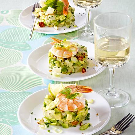 Garnelen auf Pomelo-Avocado-Tartar Rezept
