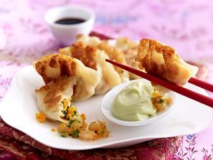 Garnelen-Gyozas mit Wasabi-Mayonnaise Rezept
