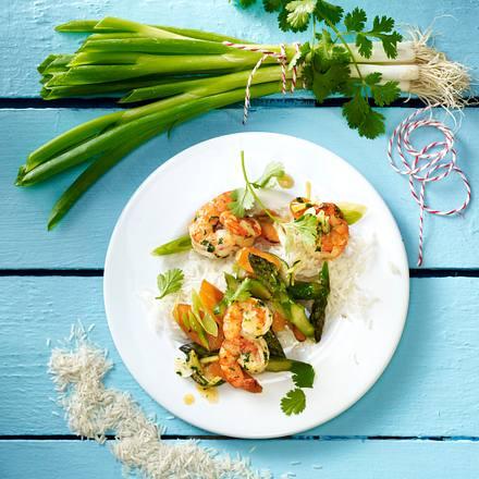 Garnelen mit Gemüse und Koriander Rezept