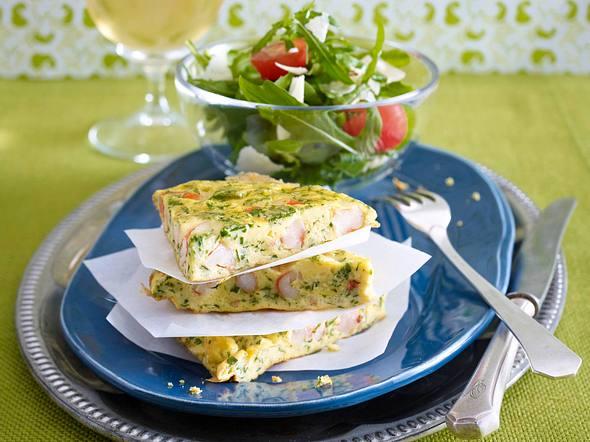 Garnelen-Omelett mit Salat Rezept