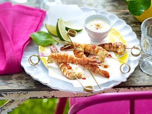 Garnelen-Sate mit Chili-Erdnuss-Dip Rezept