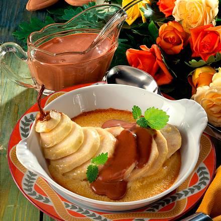 Gebackene Birne mit Schokoladensoße Rezept