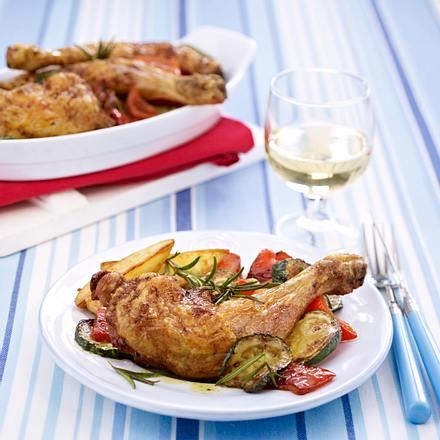 Gebackene Hähnchenkeulen mit Ofen-Kartoffeln Rezept