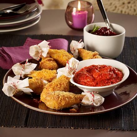 Gebackene Hähnchenkeulen mit Paprika-Mandel-Dip und Zwiebel-Confi Rezept