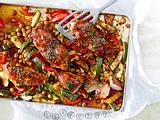 Gebackene Ingwer-Hähnchenfilets mit Ofengemüse Rezept