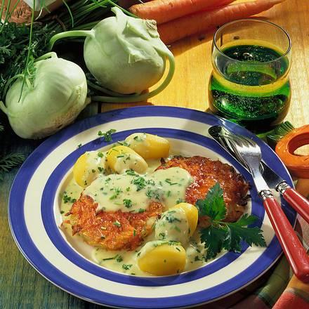 Gebackene Kohlrabischeiben in Möhren-Käse-Kruste Rezept