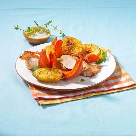 Gebackene Kürbisspalten zu Hähnchenfilets Rezept