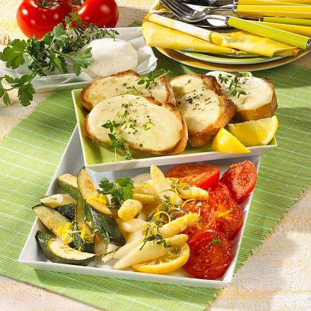 Gebackene Mozzarellabrote mit gebratenem Gemüse Rezept