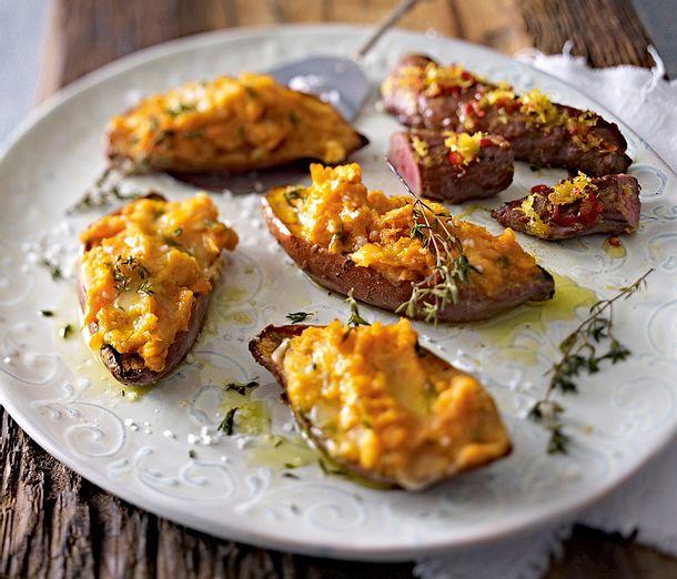 Gebackene Süßkartoffeln mit Taleggio und Zitronenlammfilet Rezept