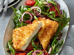 Gebackener Fetakäse auf Rauke-Tomatensalat Rezept