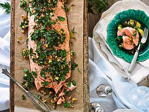 Gebackener Lachs zu Meerrettichrisotto und grünem Gemüse Rezept