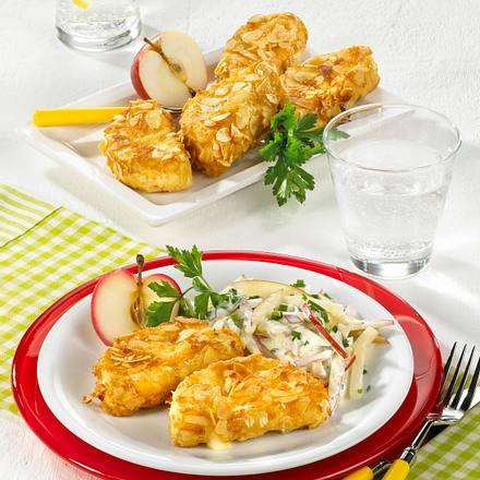 Gebackener Mandel-Camembert mit Apfel-Sellerie-Salat Rezept