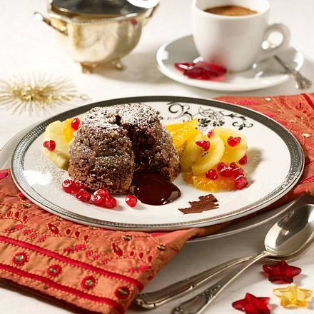 gebackener schokopudding mit exotischem obstsalat rezept chefkoch rezepte auf. Black Bedroom Furniture Sets. Home Design Ideas